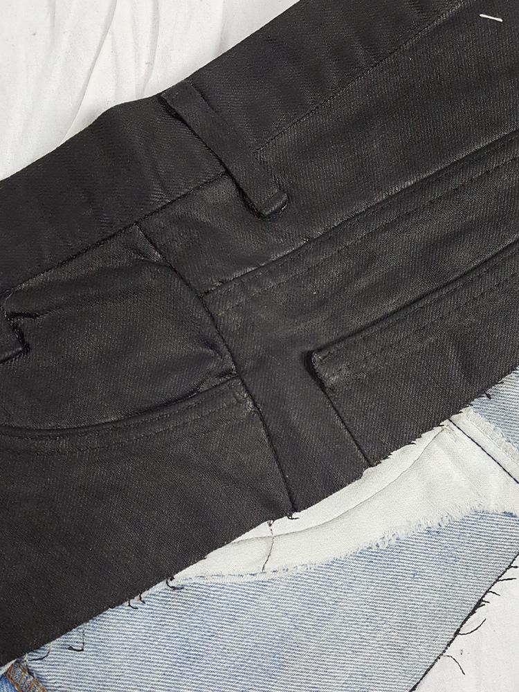 Maison Martin Margiela 'artisanal' painted denim trousers cut into a belt — fall 1991