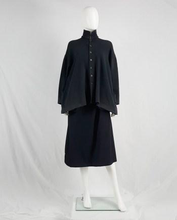 Yohji Yamamoto black loose button-up jumper — 1980's