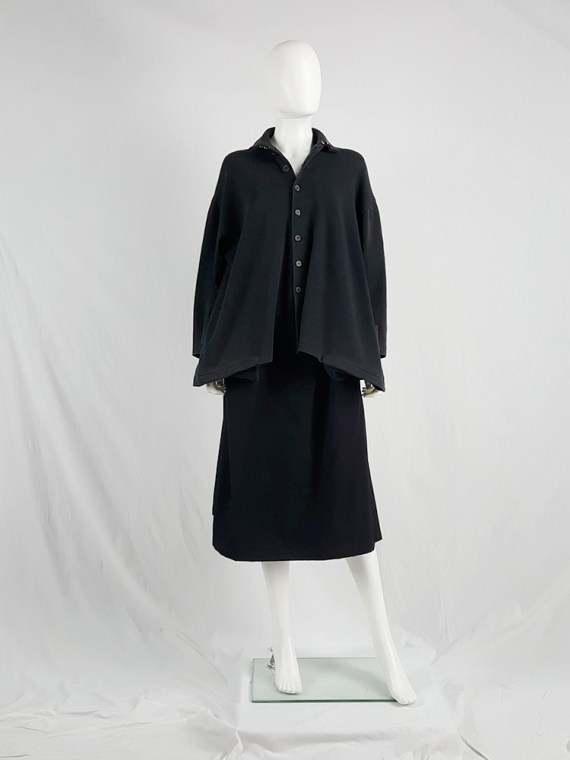 Yohji Yamamoto black loose button-up jumper — 1980's