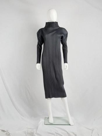 Issey Miyake Pleats Please grey pleated dress with triangular shoulders