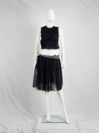Comme des Garçons sheer jumper with a black furry front panel — spring 2003