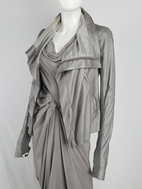 Rick Owens silver leather classic biker jacket with high funnel collar
