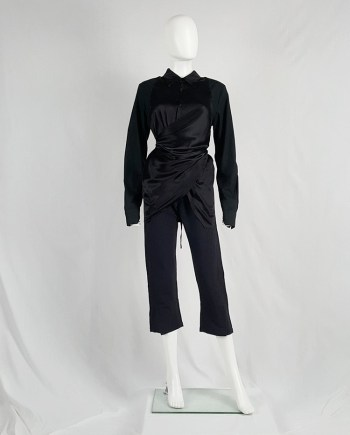 A.F. Vandevorst black wrapped shirt in contrasting materials