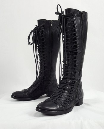 Ann Demeulemeester black flat triple lace boots (38.5) — fall 2008