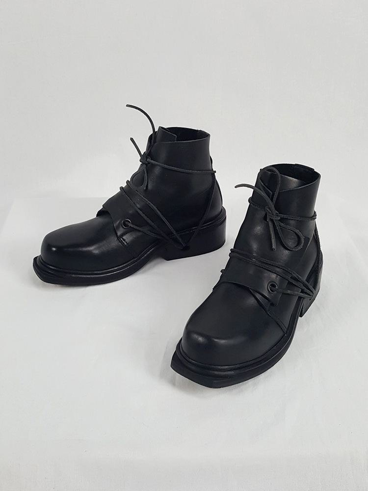 vaniitas vintage Dirk Bikkembergs black mountaineering boots with laces through the soles 1990s 90s 153055