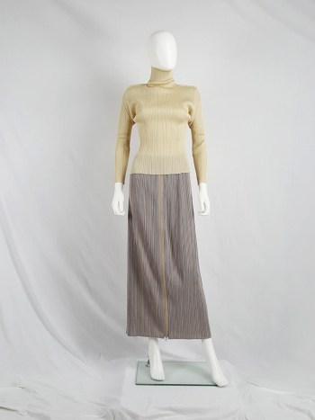 Issey Miyake Pleats Please beige pleated jumper with square shoulders