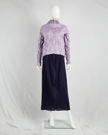 Issey Miyake Pleats Please dark purple pleated maxi skirt with front zipper
