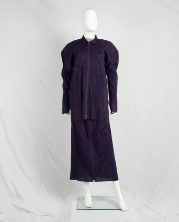 Issey Miyake Pleats Please purple pleated cardigan with square shoulders