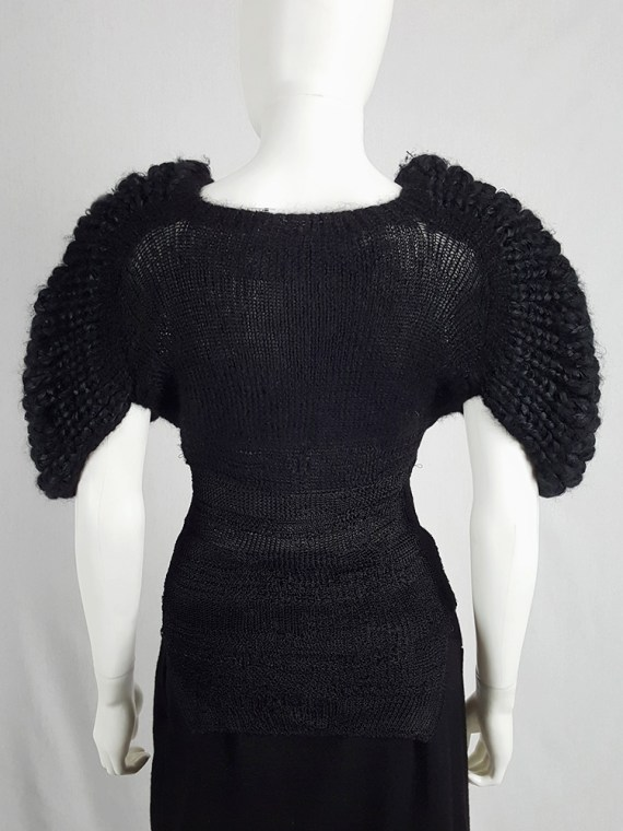 Noir Kei Ninomiya black knit top with large rounded sleeves — fall 2013