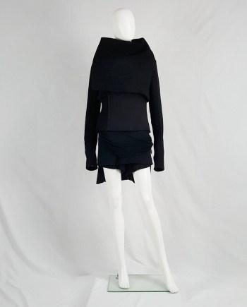 Rick Owens GLEAM black asymmetric jacket with oversized neckline — fall 2010
