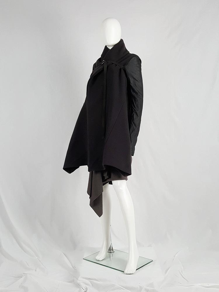 vaniitas vintage Rick Owens dark green shawl coat with belt strap and leather sleeves 172716