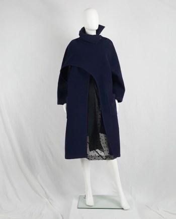 Yohji Yamamoto dark blue oversized sculptural coat — 1980s
