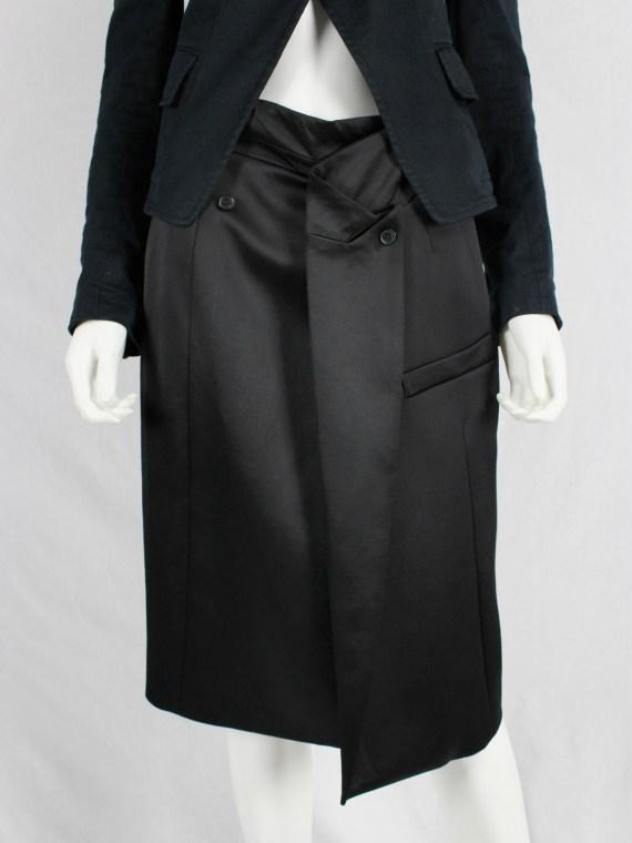 A.F. Vandevorst black pencil skirt with blazer lapel and breast pocket — spring 2013