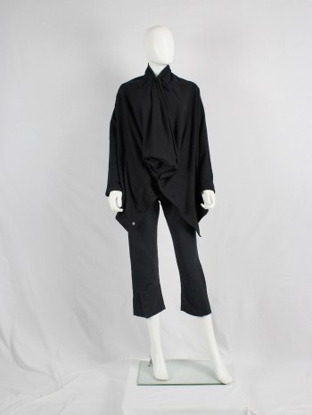 Ann Demeulemeester black draped button-up jumper with oversized cowl neck