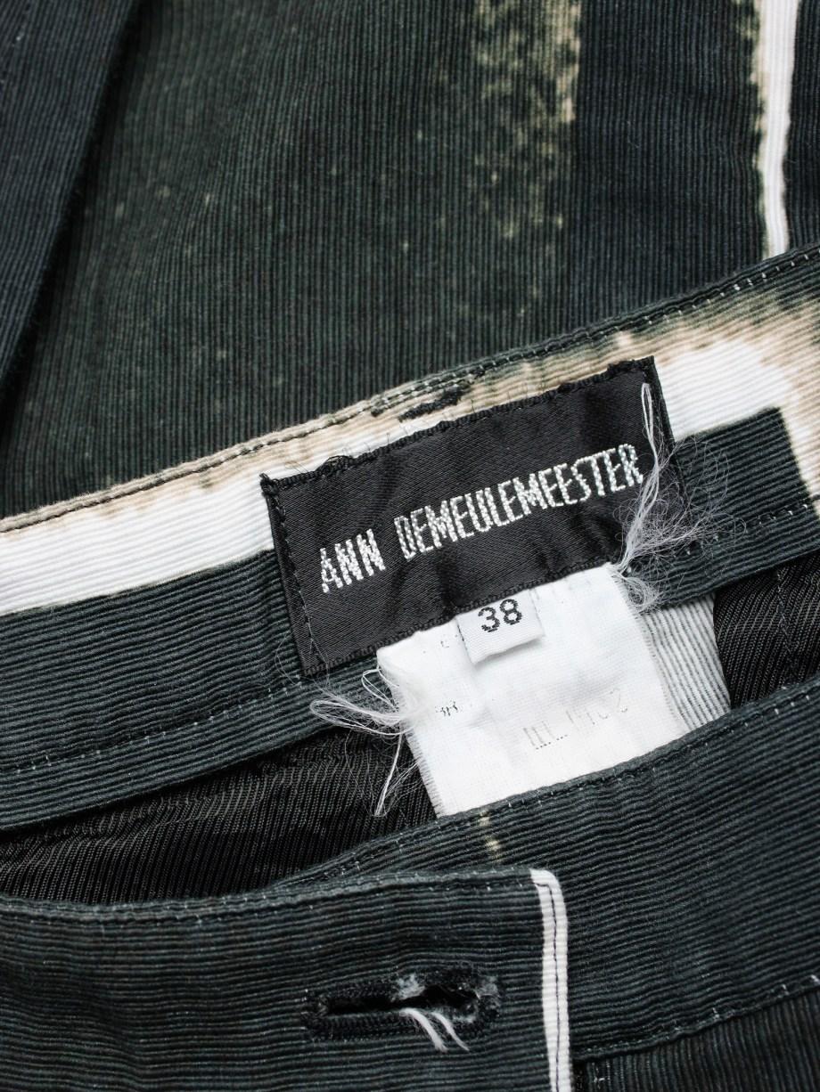 vaniitas vintage Ann Demeulemeester black trousers with beige stripe print spring 2011 408
