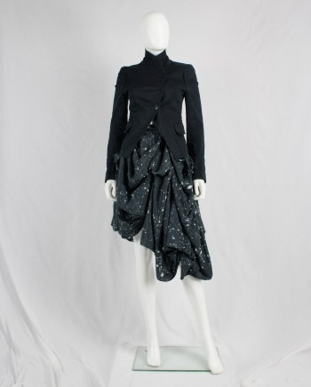 Ann Demeulemeester dark blue draped skirt with paint splatters — fall 2005