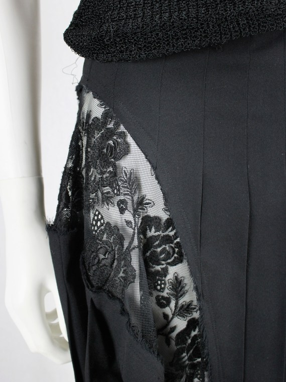Comme des Garçons blue pleated skirt with floral lace side panels — fall 2006