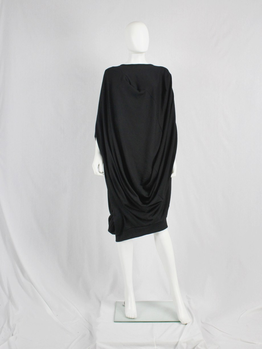 Junya Watanabe black draped cocoon dress — fall 2008