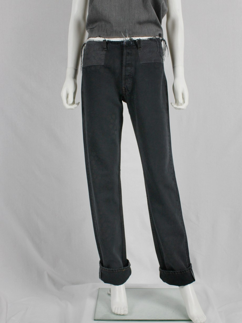 vaniitas vintage Maison Martin Margiela artisanal denim trousers with cut-off waist and circle print fall 1998 2394