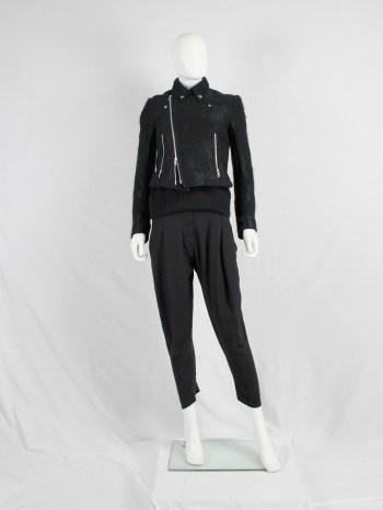 Noir Kei Ninomiya black bicker jacket with textured pied-de-poule motif — spring 2014