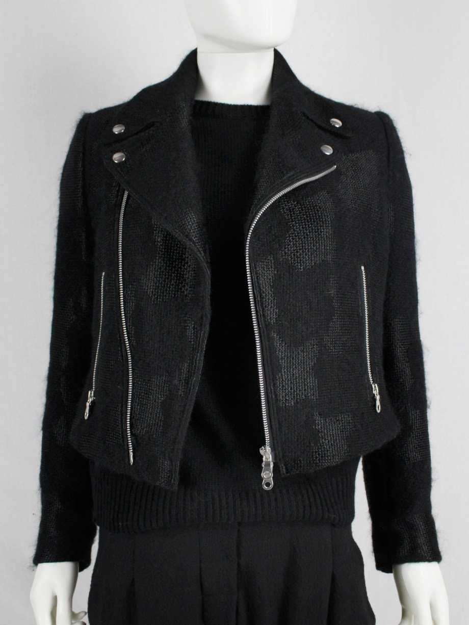 Noir Kei Ninomiya black bicker jacket with textured pied-de-poule motif — spring 2014