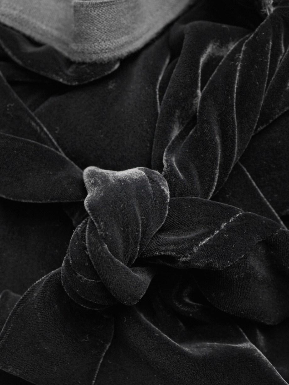 Rick Owens MOOG black draped velvet skirt with front tie — fall 2005