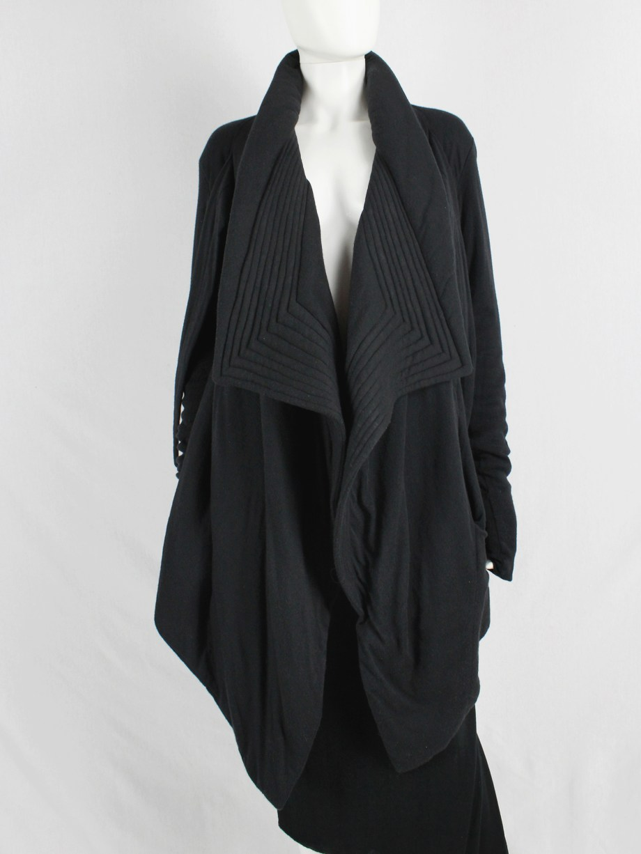 Rick Owens lilies black draped coat with tie front and triangular stitched panels
