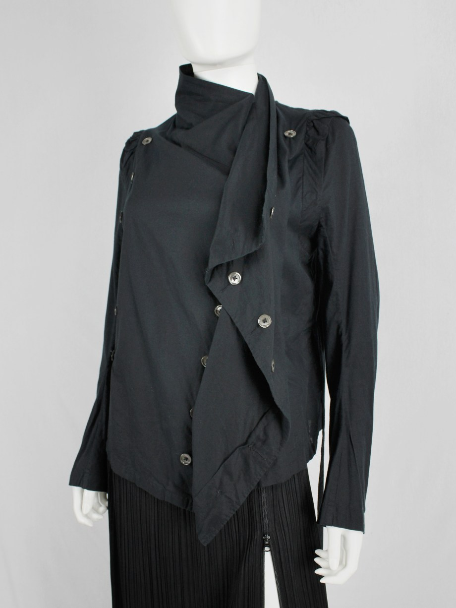 Ann Demeulemeester black shirt with standing neckline and a double row of buttons
