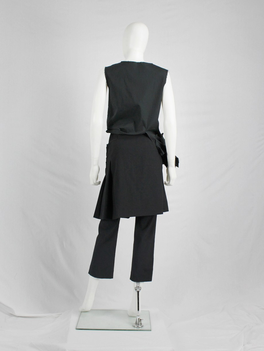 Comme des Garçons tricot black trousers with overlapping pleated skirt — AD 1999