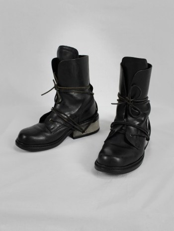 Dirk Bikkembergs black tall boots with laces through the metal heel (39) — late 90's