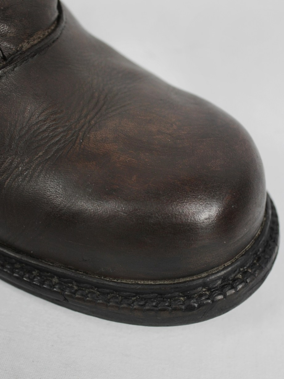 Dirk Bikkembergs brown boots with flap and laces through the soles (40) — late 90's