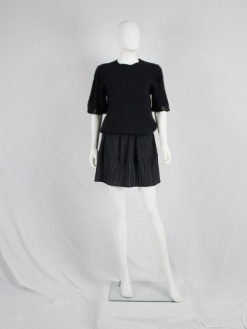 Issey Miyake black flared skirt with creased pleats — 1980's