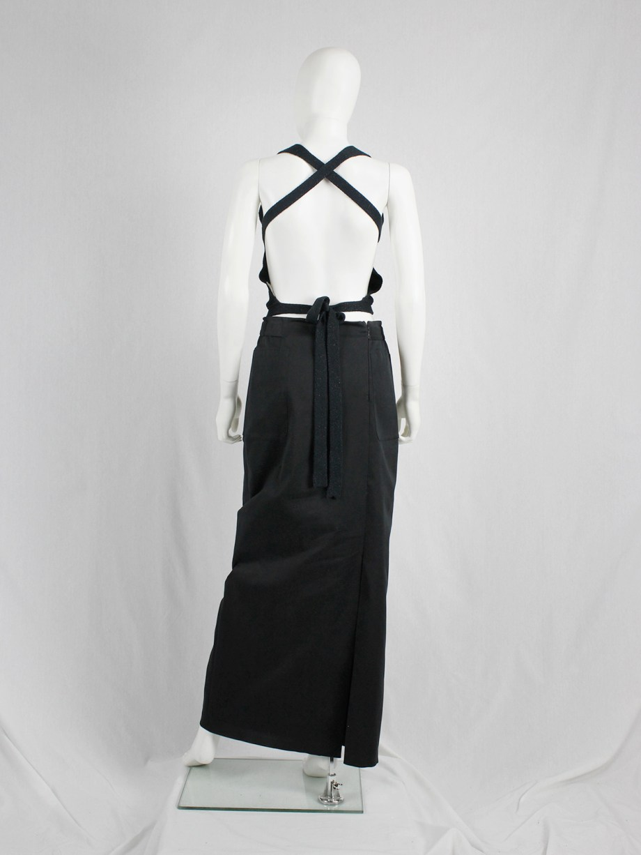Maison Martin Margiela black knit backless top with crossed straps — spring 2006