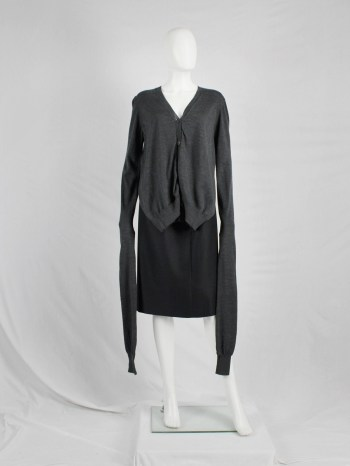 Maison Martin Margiela grey front draped cardigan with extra long sleeves — fall 2010