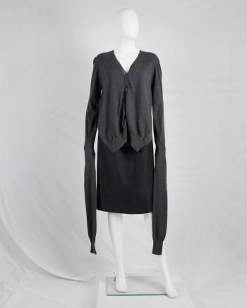 Maison Martin Margiela grey front draped cardigan with extra long sleeves — fall 2010