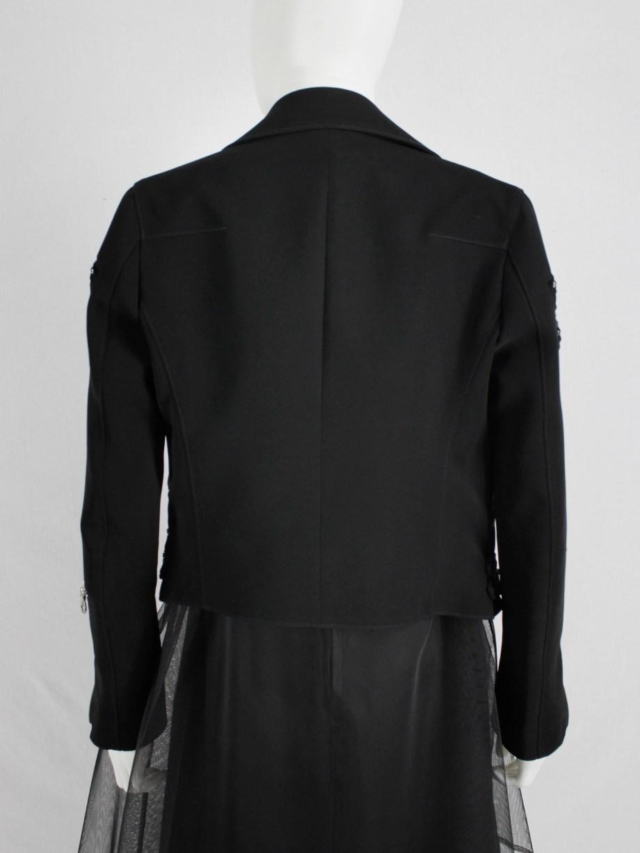 Noir Kei Ninomiya black bicker jacket with pearls around the sleeves — spring 2015