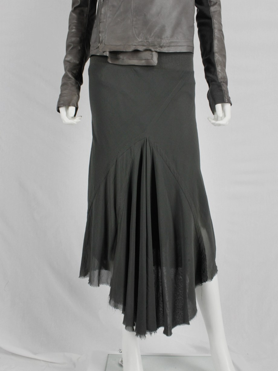 Rick Owens EXPLODER green midi skirt with front and back drape — fall 2007