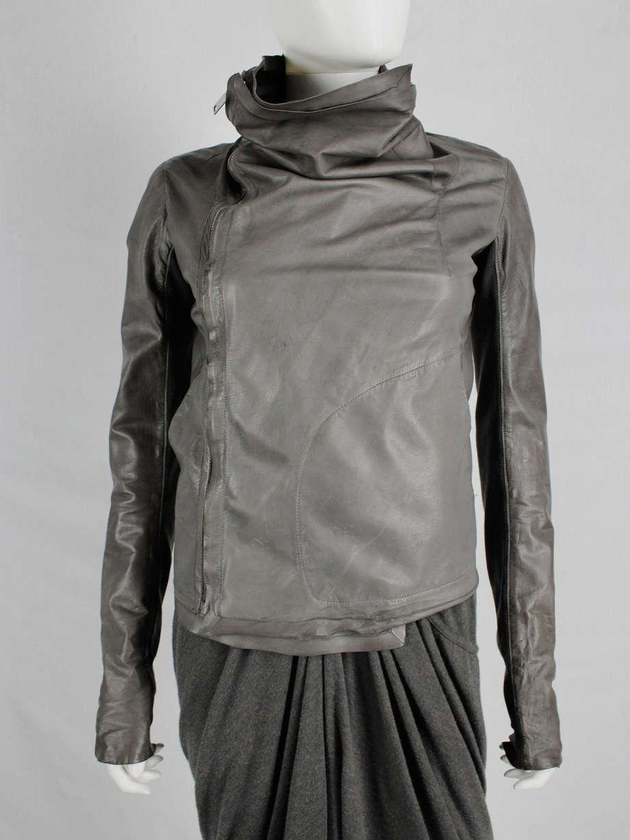Rick Owens classic brown leather biker jacket with waterfall front
