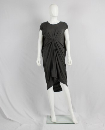 Rick Owens lilies brown 'lobster' dress with gathered front and draped back