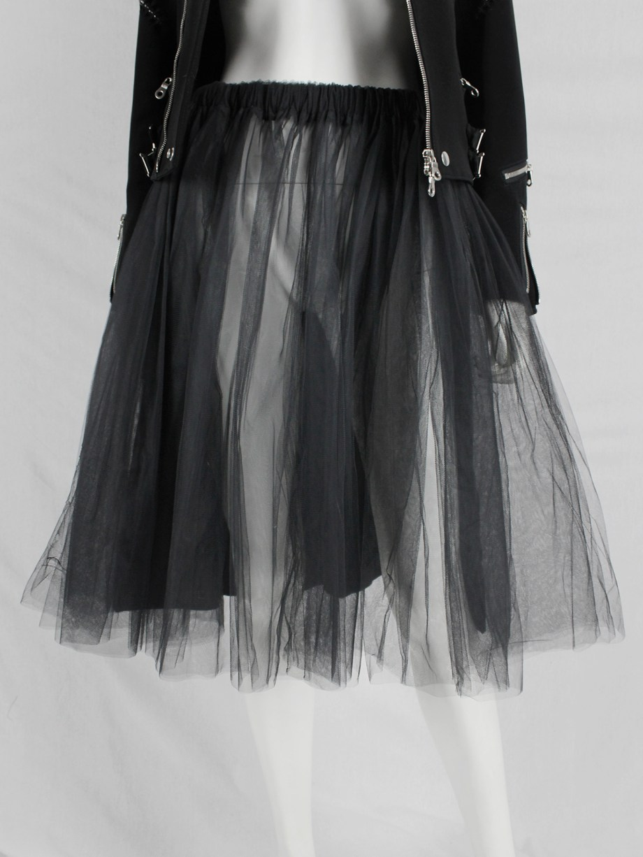 Tao Comme des Garçons black skirt with tulle layers on the front — AD 2009