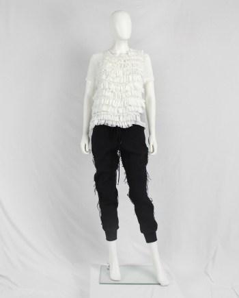 Comme des Garçons white frilled top with belted open back — spring 2014