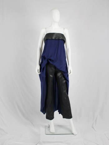 Haider Ackermann blue maxi dress with leather band — spring 2013