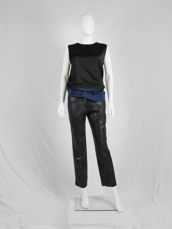 Haider Ackermann dark blue woven trousers with cigarette legs