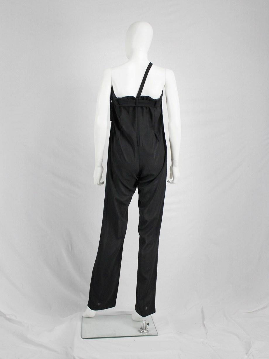 vaniitas vintage Ann Demeulemeester black draped trousers with strap or jumpsuit spring 2003 33