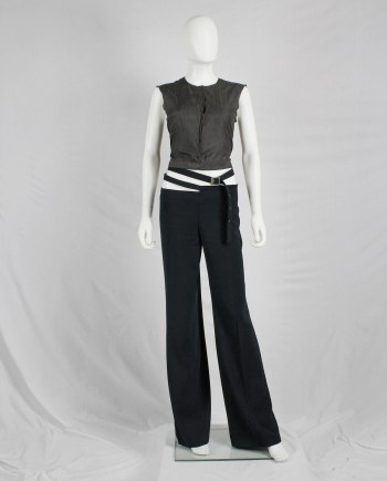 Dirk Bikkembergs dark blue trousers with semi-attached belt — 1990's