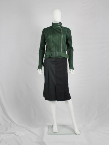 Issey Miyake Pleats Please green biker jacket with filigree panel