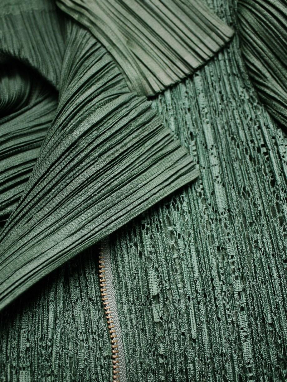 Issey Miyake Pleats Please green biker jacket with filigree panel