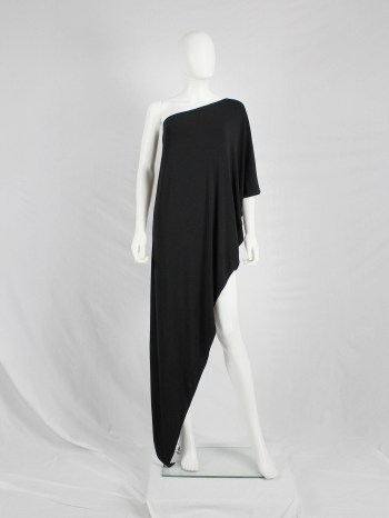 Maison Martin Margiela black asymmetric maxi dress — fall 2008