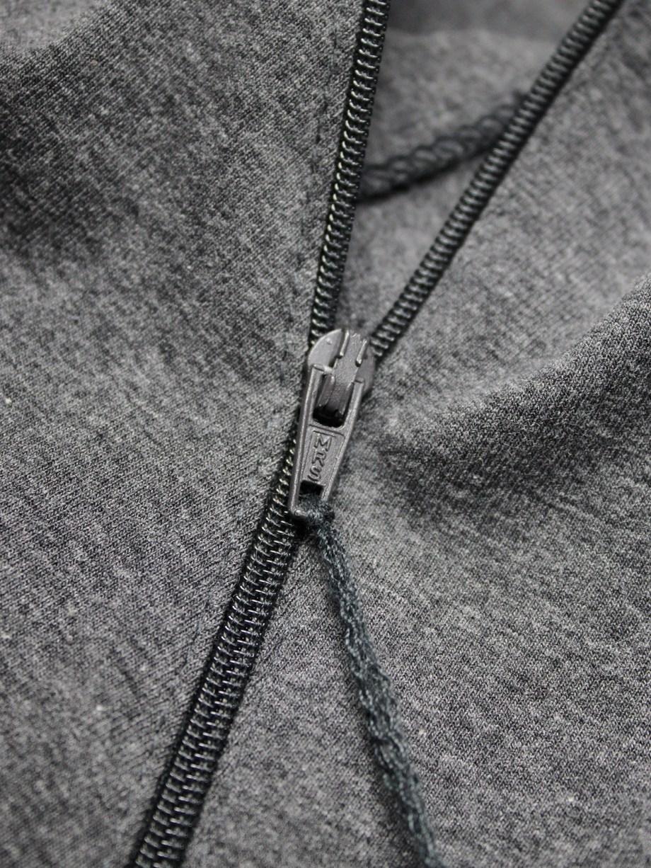 Maison Martin Margiela grey jumper with spiralling zipper — fall 1998