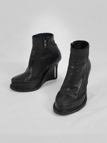 Ann Demeulemeester black slit wedge boots (37) — fall 2010